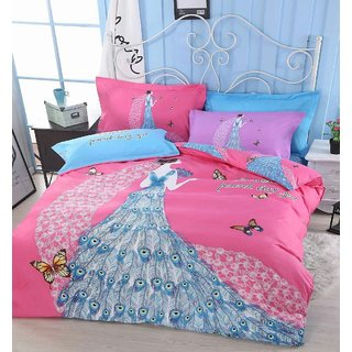 Upneja Handloom 3D Fairy Princess Peacock Panel Designer 140 TC Poly Cotton Double King Sized Bed Sheet With 2 Pillow Cover (Bed sheet Design As per Image)