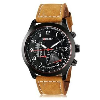 2016 Curren Meter Branded WristWatch Leather Strap Military Watch