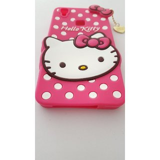 Vivo V 3 Back Cover - Dream2Cool Printed Hello Kitty Soft Rubber Silicone Pink Back Cover Case For Vivo V3