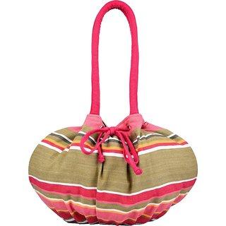 Anekaant Streak Pink Multicolor Canvas Shoulder Bag