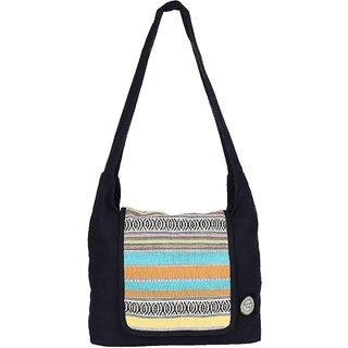Anekaant Whimsical Black Canvas Shoulder Bag