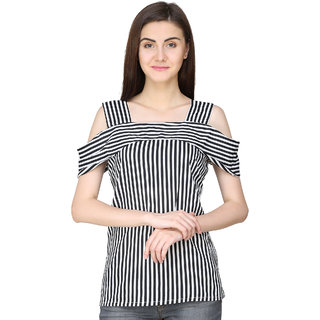 97c23bcf2d231 Buy Jollify Women s Black and White Stripe Polyester Cold Shoulder Top  Online - Get 68% Off