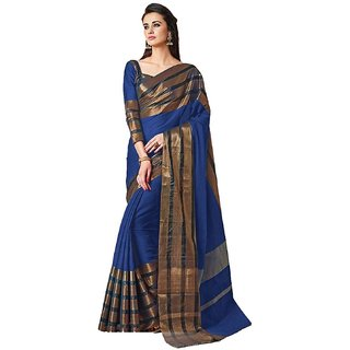 Shree Rajlaxmi Sarees Women's Blue Cotton Silk Party Wear Saree (rl-blue-arora)