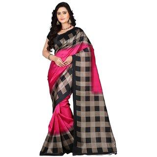 Shree Rajlaxmi Sarees Women's Mysore Art Silk Party Wear Saree With Blouse Piece (Rl-PinkChecks Silk)