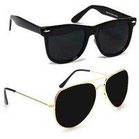 Wrode Combo of Aviator  Wayfarer Sunglasses  (Black, Black)
