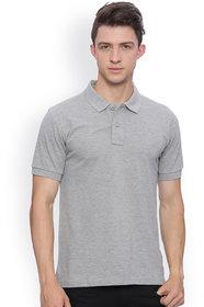 Squarefeet Grey Cotton Blend Polo Tshirt