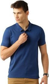 Squarefeet Royal Blue Cotton Blend Polo Tshirt