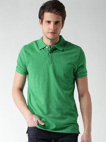 Squarefeet Green Cotton Blend Polo Tshirt