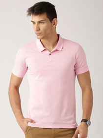 Squarefeet Pink Cotton Blend Polo Tshirt