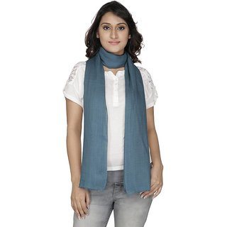 Anekaant Womens Teal Solid Viscose Stole