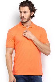 Squarefeet Orange Cotton Blend Polo Tshirt
