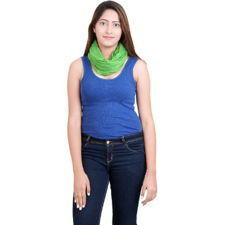 Anekaant Womens Green Solid Viscose Stole