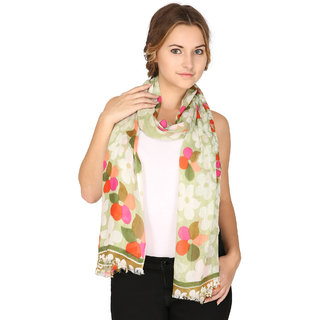 Anekaant Womens Green Floral Viscose Stole
