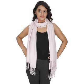 Anekaant Womens Pink Solid Viscose Stole