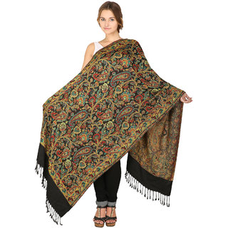 Anekaant Womens Black Woven Design Viscose Woolen Scarves