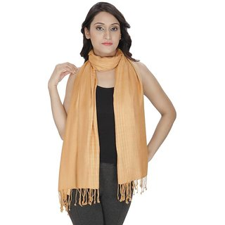 Anekaant Womens Beige Solid Viscose Stole