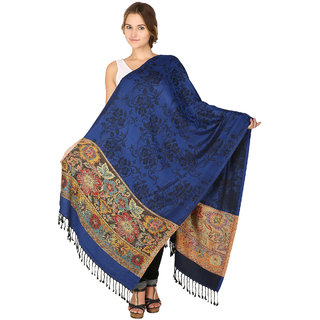 Anekaant Womens Blue Woven Design Viscose Woolen Scarves