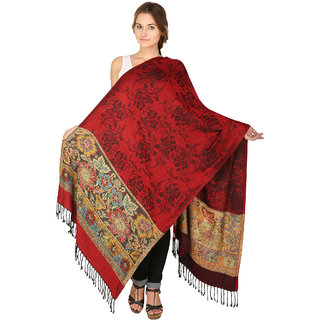 Anekaant Womens Red Woven Design Viscose Woolen Scarves