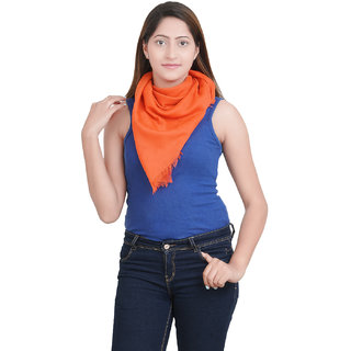 Anekaant Womens Orange Solid Viscose Stole