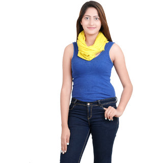 Anekaant Womens Yellow Solid Viscose Stole