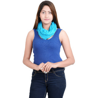 Anekaant Womens Blue Solid Viscose Stole