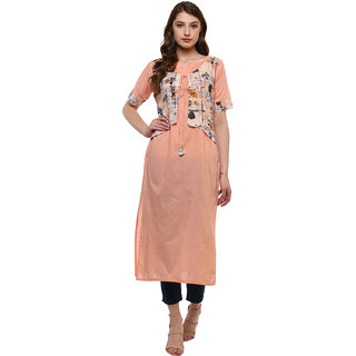 Ziyaa Women's Peach Colour Half Sleeve Cotton Straight kurta