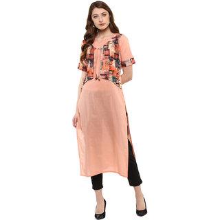 Ziyaa Women's Peach Colour Half Sleeve Cotton Straight kurta