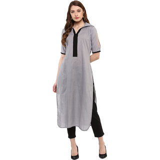 Ziyaa Women's Grey Colour Half Sleeve Cotton Straight Kurta