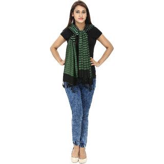 Anekaant Womens Green Striped Viscose Stole