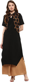 Ziyaa Women's Black Colour Half Sleeve Crepe Straight kurta