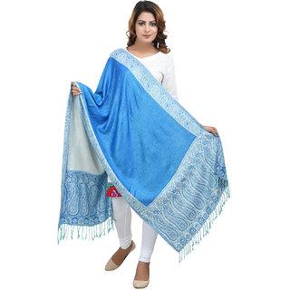 Anekaant Womens Blue Self Design Viscose Woolen Scarves