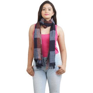 Anekaant Womens Blue Striped Viscose Stole