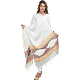 Anekaant Womens White Self Design Viscose Woolen Scarves