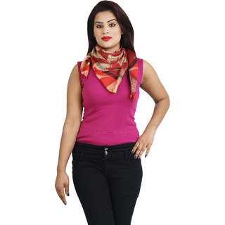 Anekaant Womens Red Printed Viscose Stole