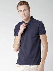 Squarefeet Navy Blue Cotton Blend Polo Tshirt