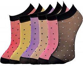 Nandini  NEW PACK OF 4 PAIR DOTTED NYLON SOCKS Multicolor