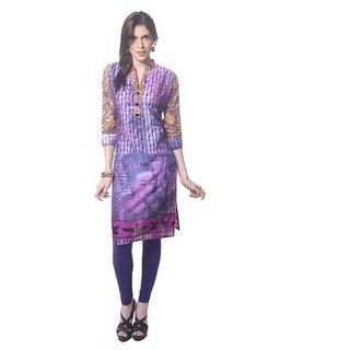 Saving Tree Digital print mauve and purple kurta with mandarian collor