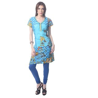 Saving Tree Light blue knee length kurta with a very different print