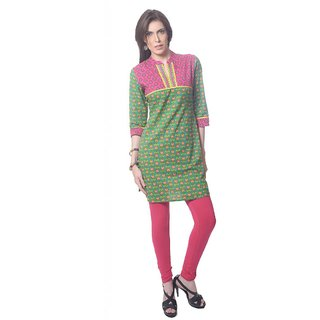 Saving Tree knee length kurta on Green Base