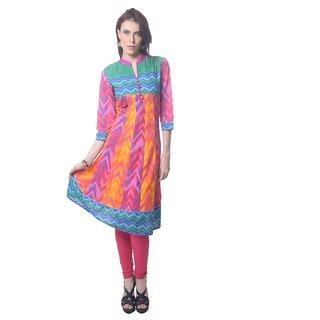 Saving Tree Anarkali Kurta with combination of vibrant colours