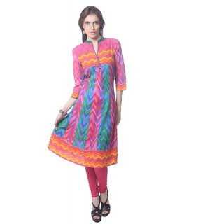 Saving Tree Cotton Anarkali Kurta in vbrant colours