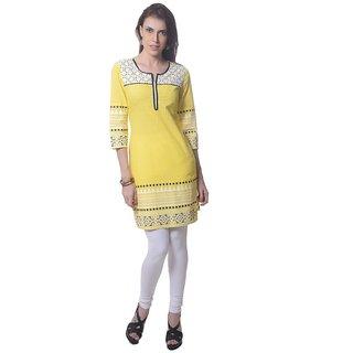 Saving Tree Cotton  kurta in elegant yellow colour