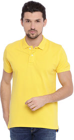 Squarefeet Yellow Cotton blend Polo Tshirt