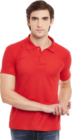 SquareFeet Red Cotton Blend Polo Tshirt