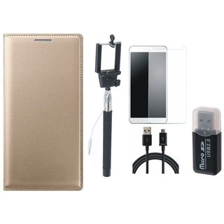 Redmi 3s Leather Flip Cover with Kick Stand with Memory Card Reader, Free Selfie Stick, Tempered Glass and USB Cable