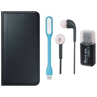 Redmi 3s Prime Leather Cover with Memory Card Reader, Earphones and USB LED Light