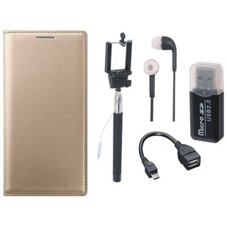 Redmi 3s Premium Leather Cover with Memory Card Reader, Selfie Stick, Earphones and OTG Cable