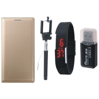 Redmi 3s Prime Flip Cover with Memory Card Reader, Selfie Stick and Digtal Watch