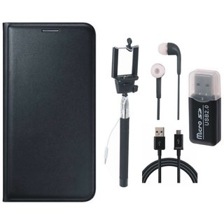 Moto E3 Leather Flip Cover with Kick Stand with Memory Card Reader, Selfie Stick, Earphones and USB Cable