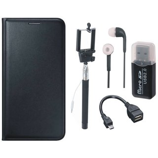 Moto E3 Leather Flip Cover with Kick Stand with Memory Card Reader, Selfie Stick, Earphones and OTG Cable